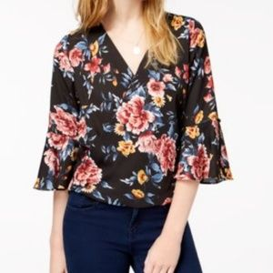 BCX Juniors Blouse Romantic Bell Sleeve Surplice